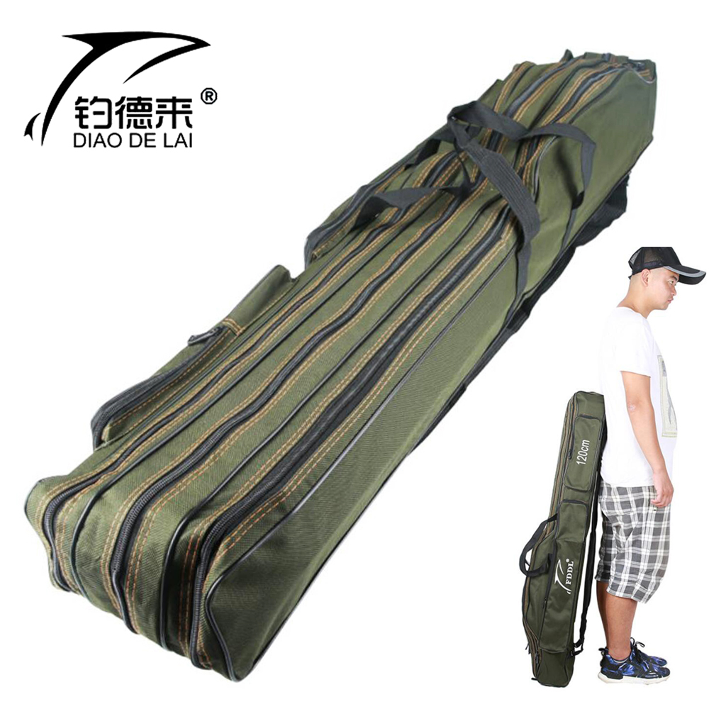 Portable Foldable Fishing Rod Carrier Fish Pole Tools Storage Bag Case