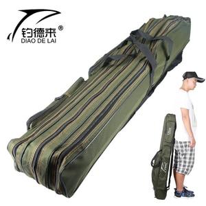 Image 1 - حقيبة محمولة قابلة للطي لحمل قضيب صيد الأسماك حقيبة تخزين لأدوات قطب الأسماك