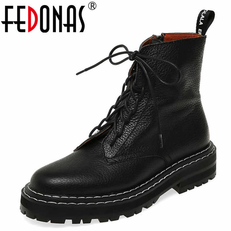 FEDONAS 2020 Autumn Winter Quality Genuine Leather Punk Short Boots Lace Up High Heels Women Ankle Boots Party Shoes Woman
