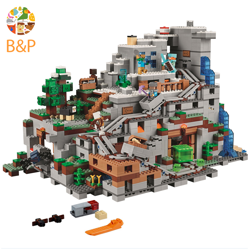 legoing 21137 My worlds Series The Mountain Cave Model Building Block Brick Toys For Children Miniecraft Lepin 18032 dhl lepin 18032 2932 pcs the mountain cave my worlds model building kit blocks bricks children toys clone21137 in stock