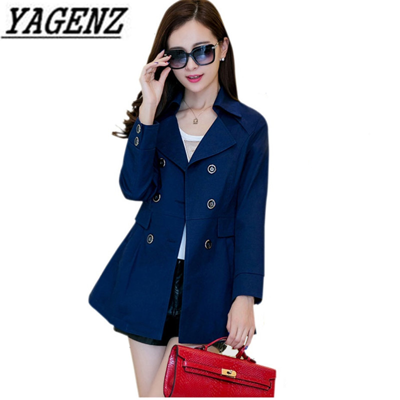 Double breasted Women's Long-sleeved   Trench   Coat Plus size M-4XL Korean Slim Solid Outerwear Casual Spring Female Windbreaker