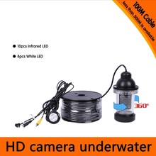 100Meters Depth 360 Degree Rotative Underwater Camera with 18pcs of White or IR LED for Fish