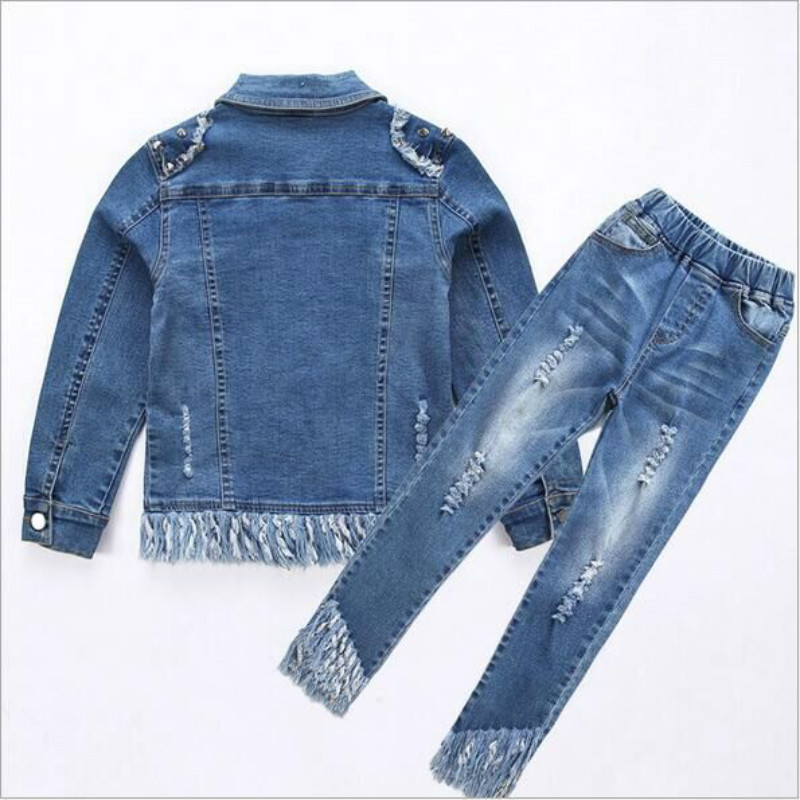 Clothes sets 2017 spring Fall hello kitty kids clothes fashion  suit jackets+pants denim baby set girls  suit outwear 4-12 Y baby girls summer sets cotton hello kitty girl s clothing set denim kids suit t shirt denim short