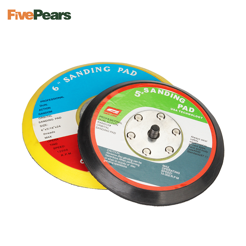 FREE SHIPPING 5 inch or 6 inch Polishing Sander Backer Plate Napping Hook Loop Sanding Disc Pad Best Quality FivePears