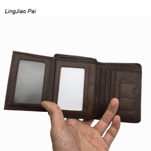 LingJiao Pai Genuine Cow Leather Men Wallet Travel Trifold Short Design Men Purse With Many Cards Pocket ID Holder
