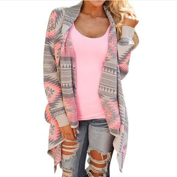 Cardigans Women 2018 Irregular Geometric Printed Cardigan Open Front Loose Aztec Sweaters Jumper Outwear Jackets Coat Tops como vestir con sueter mujer