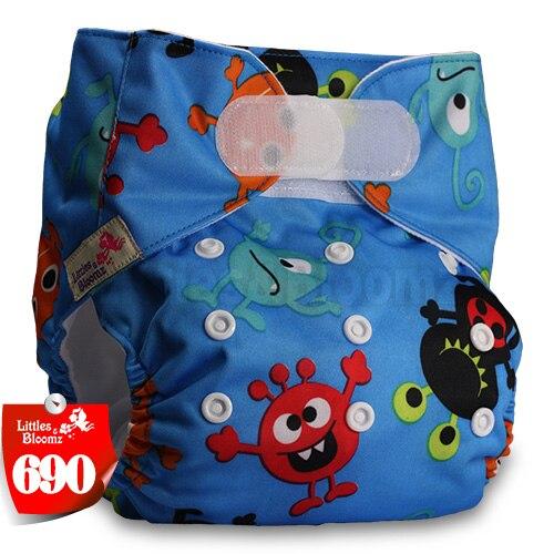 [Littles&Bloomz] Один размер многоразовые тканевые подгузники Моющиеся Водонепроницаемые Детские карманные подгузники стандартная застежка на липучке - Цвет: 690
