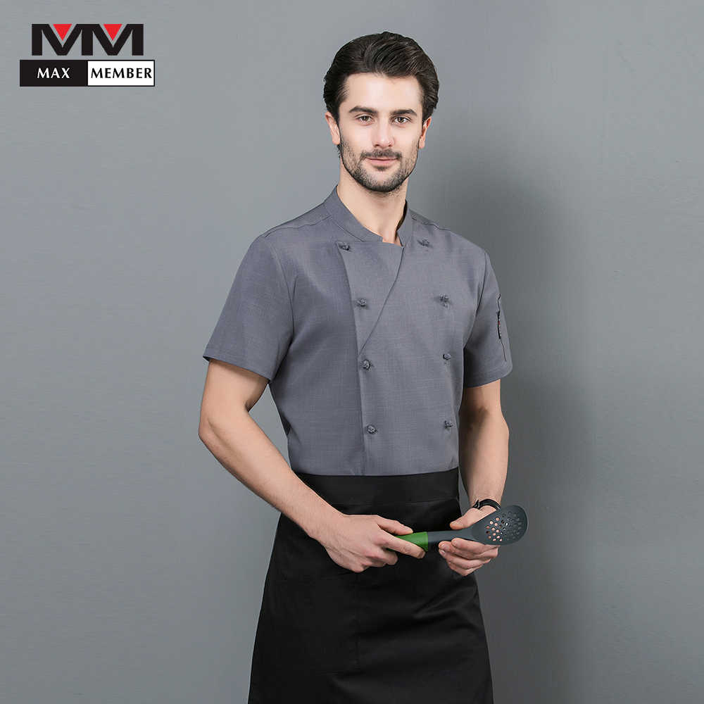 Мужская куртка с коротким рукавом вышивкой для шеф повара буфет кухни вечеринки