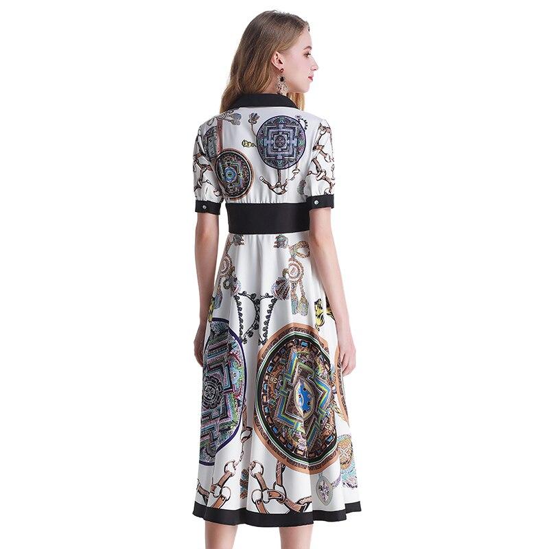 Fashion Runway Designer Dress Vrouwen V hals Elegante Partij Belted Wrap Hoge Taille Bloemenprint Vintage Maxi Vrouwelijke Lange Jurk-in Jurken van Dames Kleding op  Groep 3