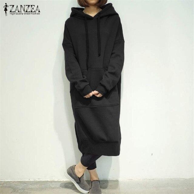 94c28c65c4fab 2018 Winter ZANZEA Women Long Sweatshirt Dress Long Sleeve Fleece Lined  Casual Loose Split Hem Hooded Dress Vestidos Plus Size