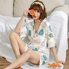 קימונו נשים PyjamasSummer כותנה קצר שרוולים שני חלקים יפני סקסי בנות פיג מה סט פתוח חולצות בית חליפות הלבשת