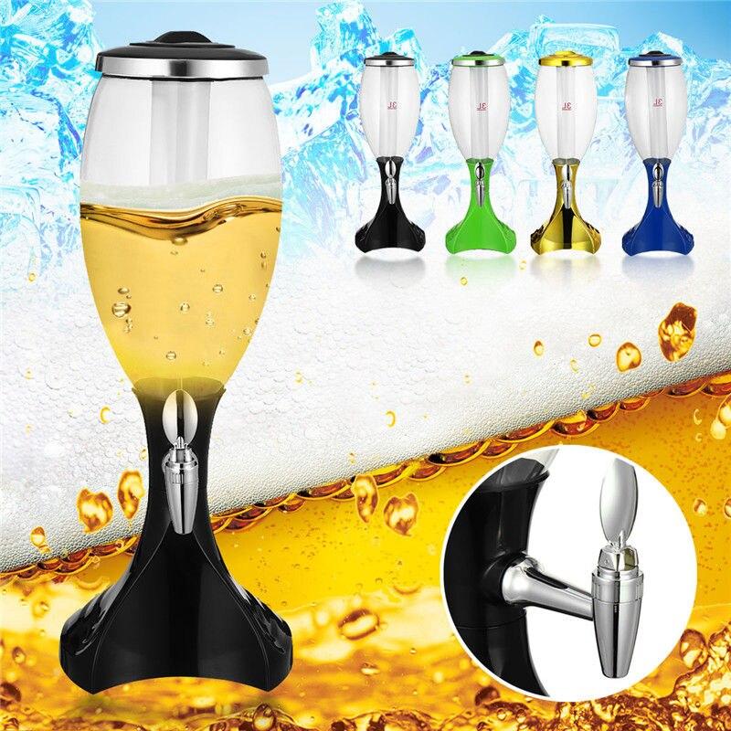 3L Capacité Glowing LED Lumières De Bière Innovant Tour D'énergie-efficace Propre Coffre-Fort Résistant Or Bleu Vert Noir pour Bar KTV