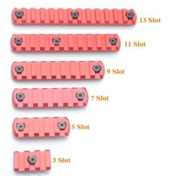 TriRock 3/5/7/9/11/13 Slots Keymod Rail Sectie Picatinny/Weaver Segment mount Attachment Voor KEYMOD Handguard Rail_Red Geanodiseerd