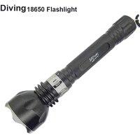 18650 Duiken zaklamp LED T6 Onderwater licht XM-T6 Waterdichte Flash lamp Torch