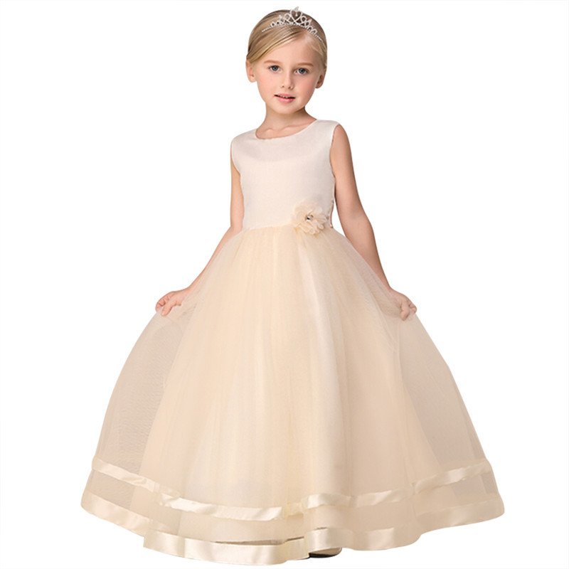 Lovely Cute A-Line Floor Length Scoop Sleeveless Tulle   Flower     Girls     Dresses   With Hand Made   Flower   Hot Little   Girl   Party Gowns