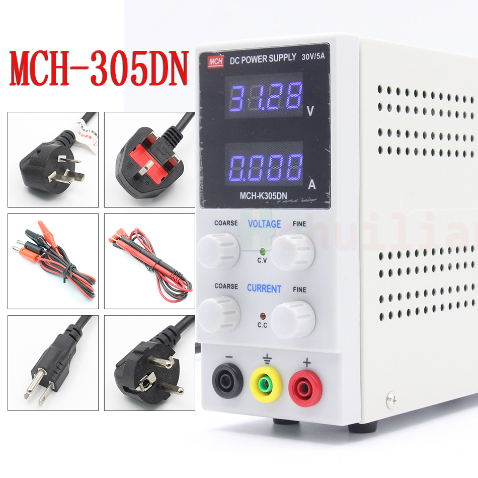 MCH-305DN 305D adjustable DC power supply 30V5A digital high-precision ammeter for notebook phone repair 110V 220V US EU plug kuaiqu high precision adjustable digital dc power supply 60v 5a for for mobile phone repair laboratory equipment maintenance