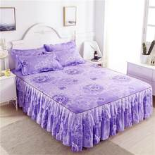 Nordic Romantic Flower Pattern Polyester Ruffled Bedspreads Bed Skirt Queen Bed Covers Bedclothes Sheet bedding set Home Decor(China)