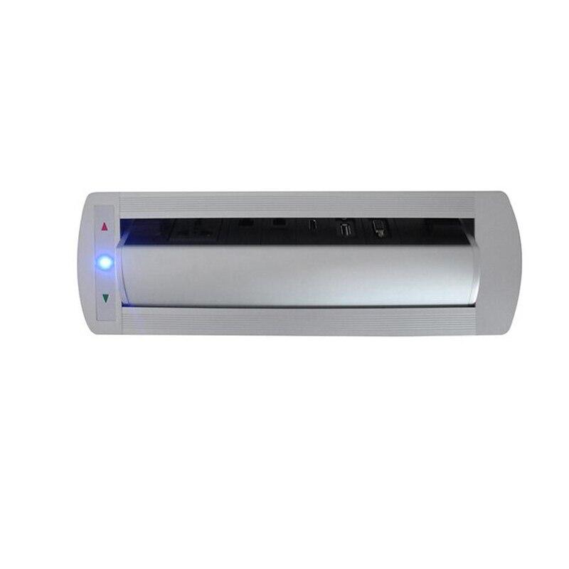 Rotation de retournement électrique automatique intelligente prise 180 degrés avec prise de courant universelle + RJ45 + téléphone + USB + HDMI + VGA