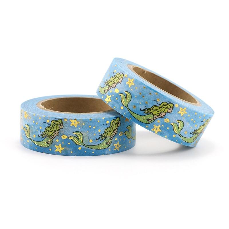 1PCS Mermaid Stars Washi Tape Adhesive Tape DIY Scrapbooking Sticker Label Craft Masking Tape
