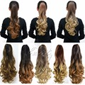 """20"""" Pony Tail Ponytail Clip On Hair Extensions Ombre Hair Tail Wavy Curly Style Synthetic Hairpieces queue de cheval B40"""