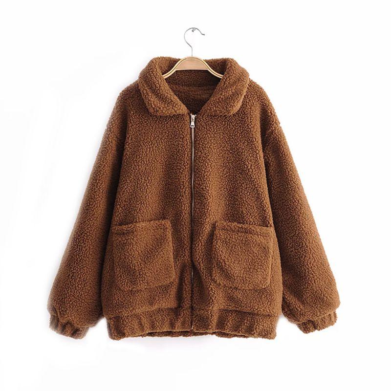 Elegant Faux Fur Jacket Coat Women Autumn Winter Warm Soft Fur Teddy Coat Jacket Female Plush Overcoat Casual Outerwear