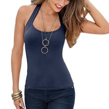 Casual Women Halter Vest Top Solid Color Summer Female Sexy Sleeveless Tank Tops T-Shirt