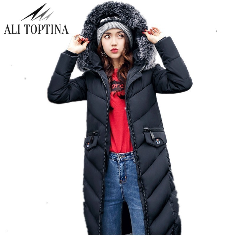 ALI TOPTINA Winter Coat Down Cotton-padded Jacket Large Fur Collar  Woman Long Overknee Thickening Down Cotton-padded MF23 naim fraimlite level long cherry ali