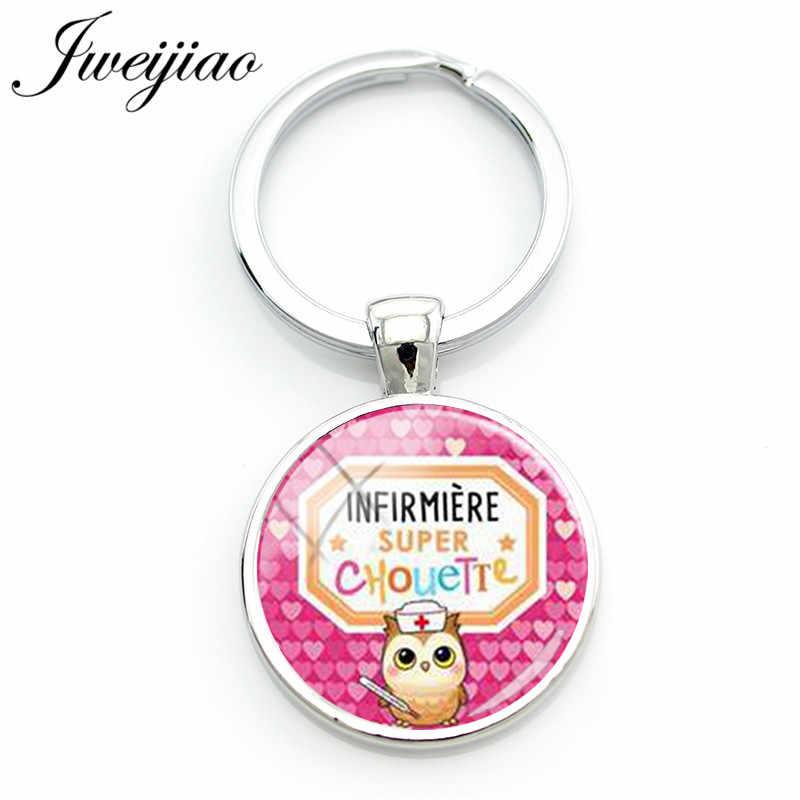 JWEIJIAO חדש סופר Infirmiere Keychain צרפתית מכתב זכוכית תמונת קרושון מפתח שרשרת מחזיק מפתחות תיק מפתח תליון אחיות מתנה SI12