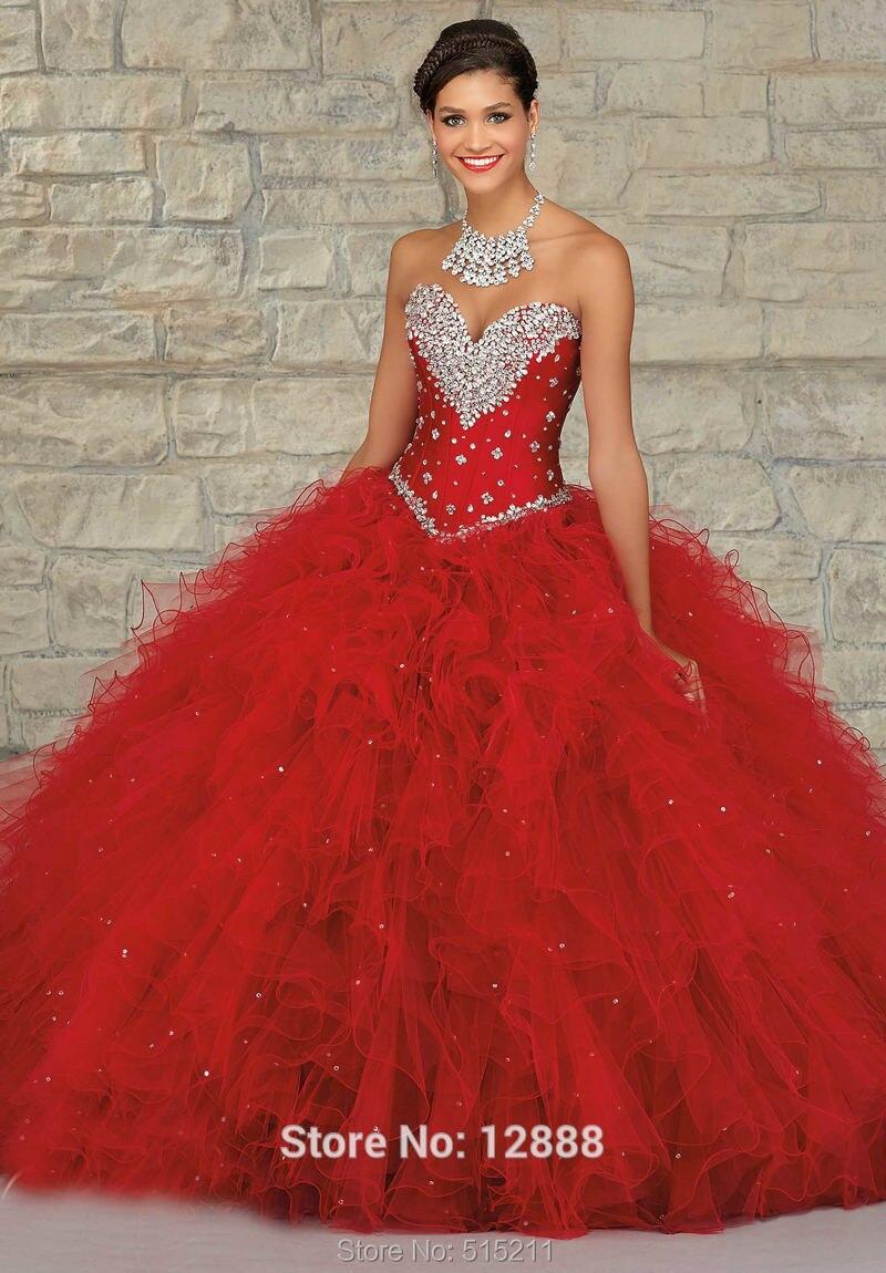 Debutante vestido turquesa y rojo de Tulle Quinceanera vestidos manga corta dulce 16 vestidos de bola