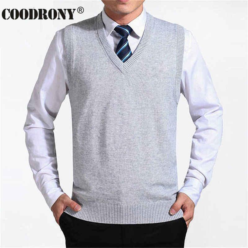 Coodrony 2019 새로운 도착 솔리드 컬러 스웨터 조끼 남자 캐시미어 스웨터 울 풀오버 남자 브랜드 v 넥 민소매 저지 hombre