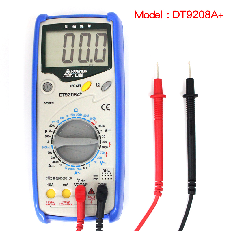 Digital LCD Multimeter Meter Current AC/DC Voltage Resistance Capacitance Frequency Temperature Tester Detection DT9208A+ newacalox lcd temperature tester digital multimeter ac dc voltage current resistance capacitance measurement tool with battery