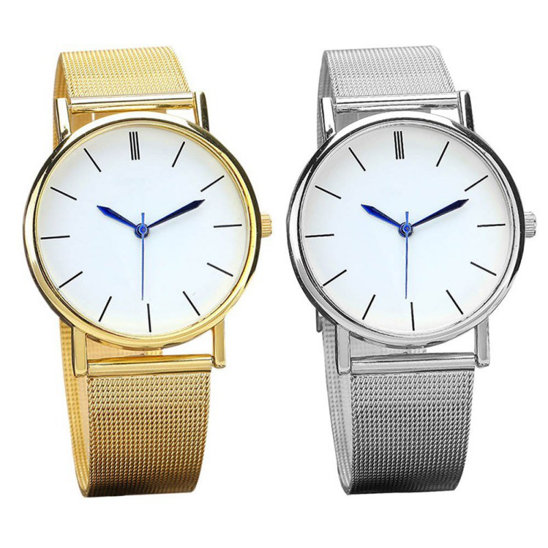 Fashion Quartz Watch Women Mesh Stainless Steel Gold Silver Watches Men Watches