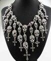 Mais novo Lindo Departamento de Moda Esqueleto crânio Colar Cruz Jóia de cristal Declaração Mulheres Gargantilha Colares Pingentes
