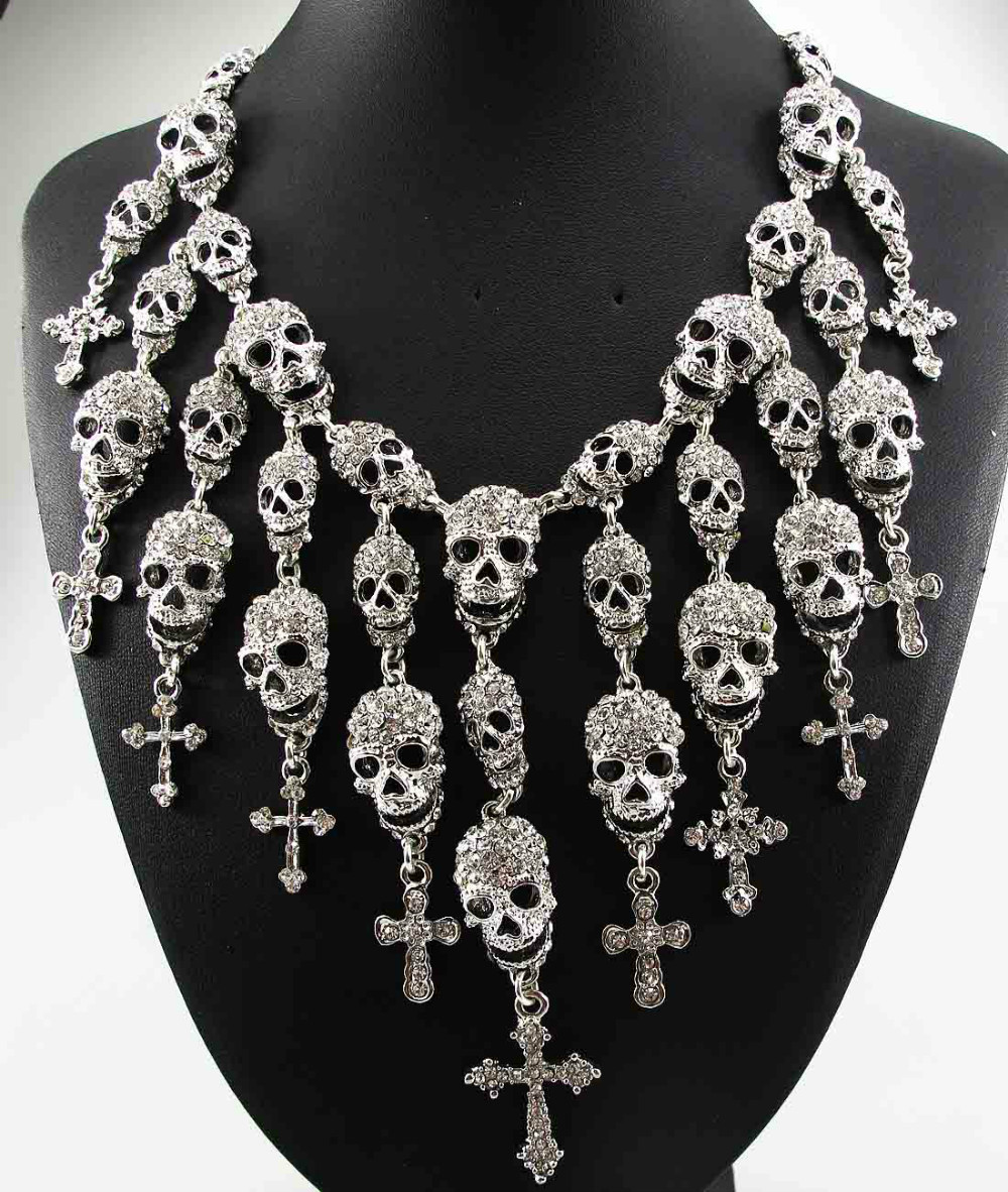 Newest Gorgeous Fashion Necklace Skeleton skull Cross Jewelry crystal Department Statement Women Choker Necklaces Pendants cross alloy choker necklace