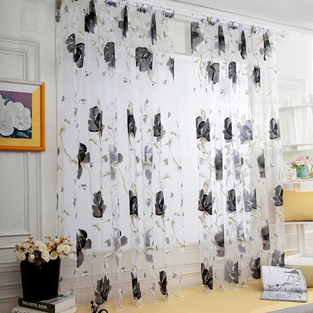 1 PCS Vines Leaves Tulle Door Window Curtain Drape Panel Sheer Scarf Valances Curtains For Living Room Bedroom Gordijnen