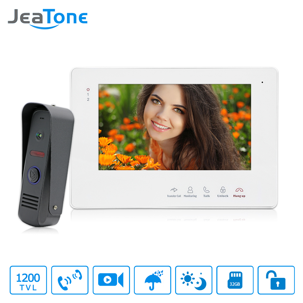 JeaTone 7Video Doorbell Camera Door Phone Intercom System White Hands-free Touch Button Indoor Monitor IR Night Camera Home Kit jeatone 7 inch wired video door phone video intercom hands free intercom system with waterproof outdoor ir night camera
