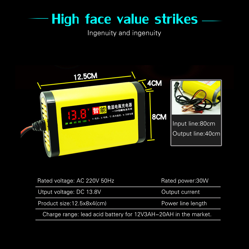 Image 5 - 12V 2A LCD Display Smart Motorcycle Car Battery Charger Full Automatic 3 Stages Lead Acid AGM GEL Intelligent 12 Volt 10AH 20AH-in Battery Charging Units from Automobiles & Motorcycles