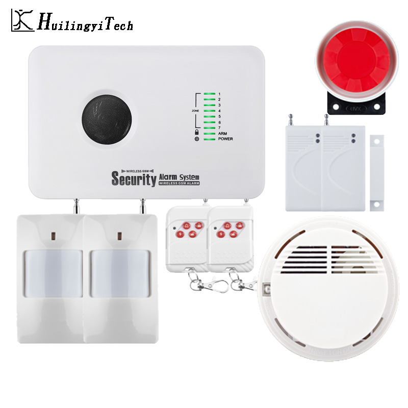 433MHz Wireless SIM GSM Home RFID Burglar Security Home Alarm System GSM Alarm System Sensor kit with wireless smoke detector купить в Москве 2019