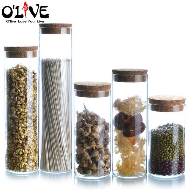 1 unid frascos de vidrio para los recipientes de almacenamiento de cereales t azcar caf de