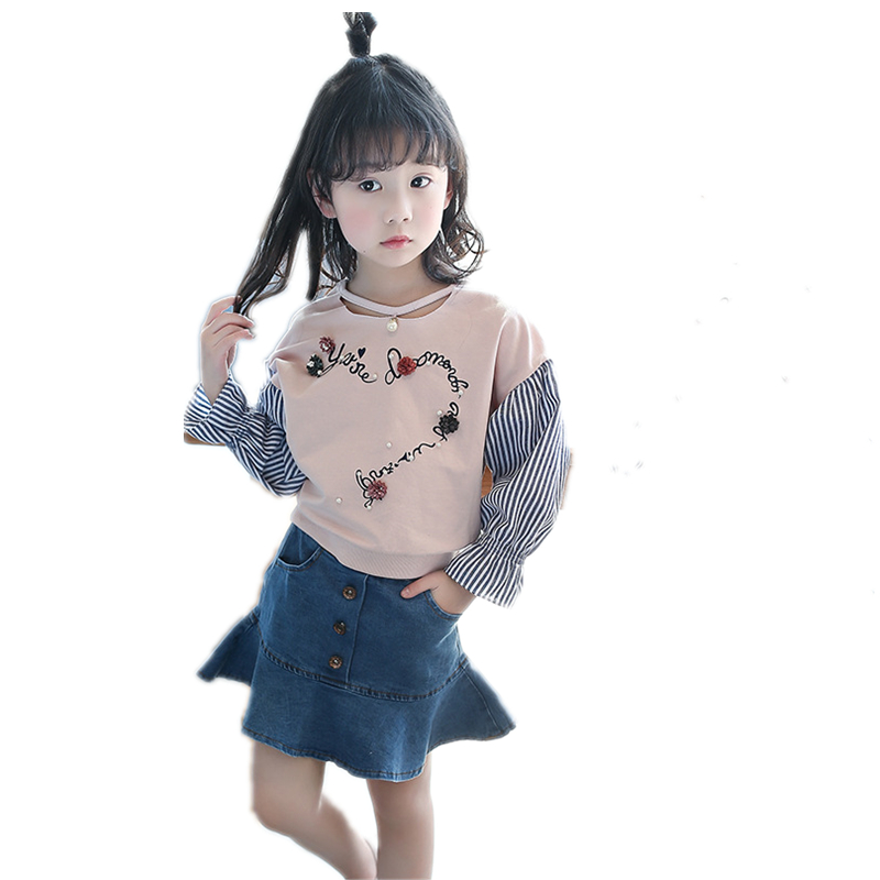 Autumn Girls Clothing Sets Cotton Fashion Kids Clothes For Girls Full Sleeve Striped T Shirt Denim Skirt 2Pcs Baby Clothes H159 цена 2017