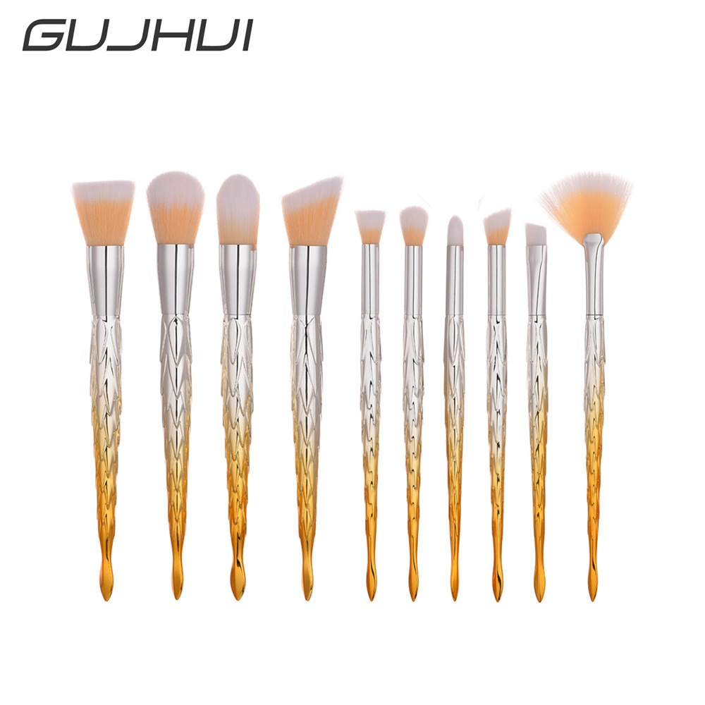 GUJHUI New 10Pcs Mermaid Golden pincel de maquiagem sereia Blending Pencil limpiador de brochas pinceis de unicornio pinceau цена