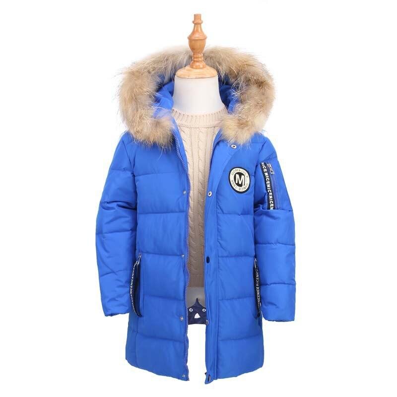 3570e6c78fe7 Big Boys Duck Down Long Coat Thicken Warm Kids Faux Fur Hooded ...