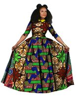 2016 Autumn Clothing Dashiki Batik Print African Dresses For Women Long Sleeves Pure Cotton Turn Down