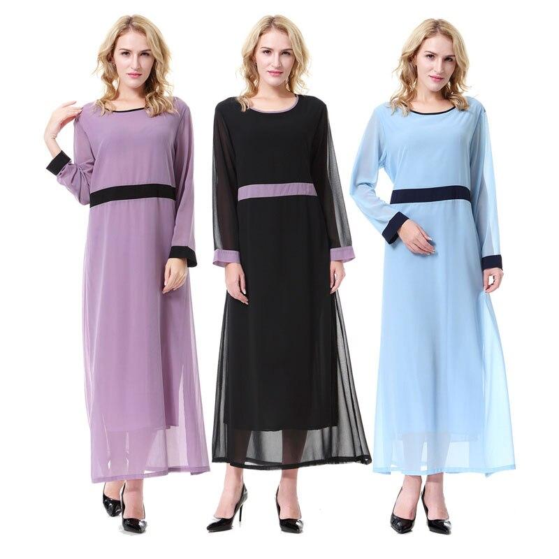 2019 élégant mousseline de soie robe islamique pour les femmes Ramadan Abaya arabe turquie Dibai moyen caftan musulman Long Hijaber Desses Eid