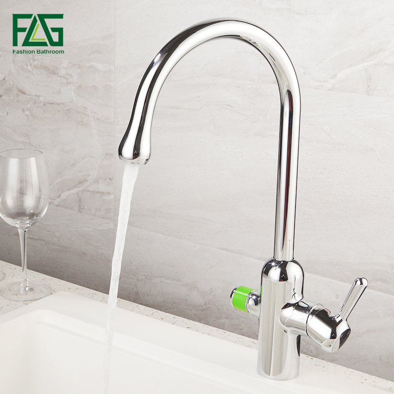 FLG Deck Mounted Kitchen Faucets Mixer Tap 360 Degree Rotation with Water Purification Features Chrome 3 Way Mixer Tap Crane 525