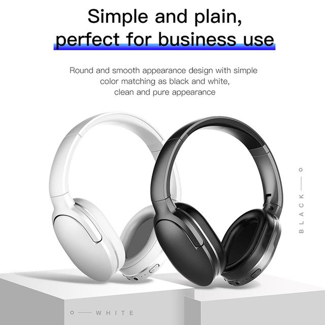Baseus D02 Bluetooth Headphone, Foldable 25 Hours Music Play Wireless headphones Portable Bluetooth Earphone with Mic for Phone