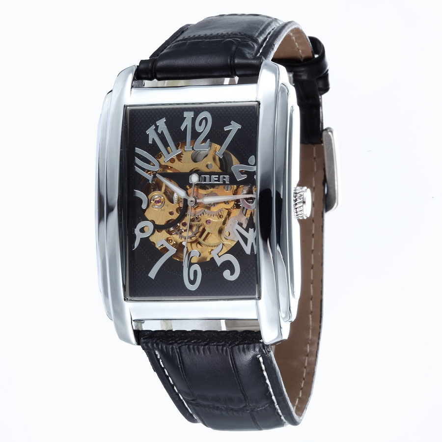 GOER brand leather men s watches mechanical Automatic waterproof Skeleton male movement Wrist watch Square Luminous