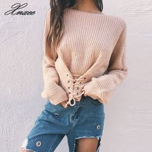 2019 autumn and winter new simple solid color round neck sweater tie rope waist