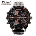 Oulm brand japanese movement wrist watches dual time zone big dial black and gold platting watch