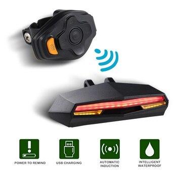 ABS Thông Minh Sau Laser Xe Đạp Xe Đạp Đèn LED USB Sạc Không Dây Từ Xa Biến Điều Khiển Đi Xe Đạp Bycicle Ánh Sáng